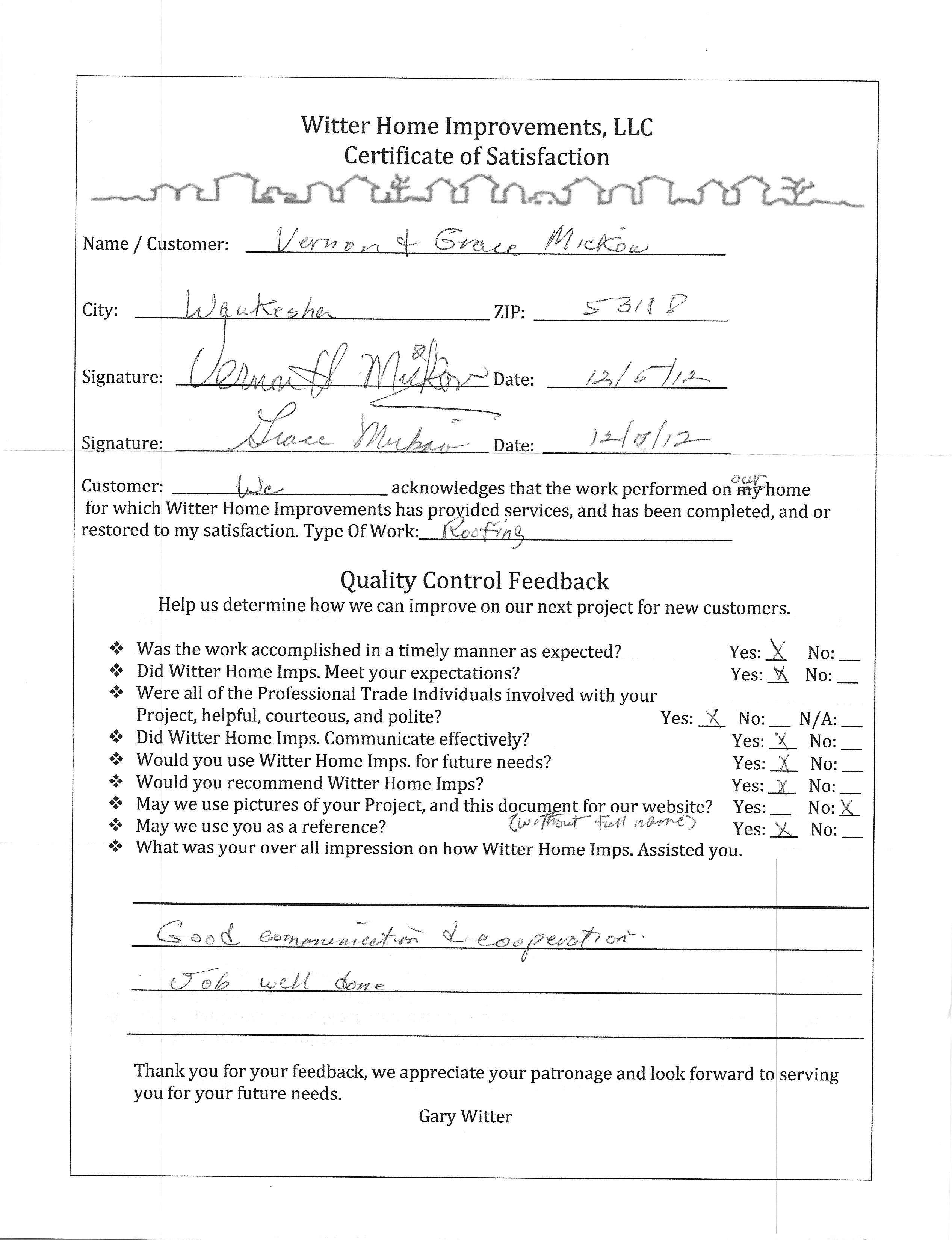 Roof Certificate Amp Roofing Warranty Certificate 56 With